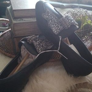 a new day Shoes - A New Day Black Bow Beaded Jean Dress Shoes